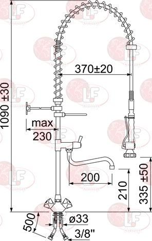 PRE-RINSE UNIT 1090 mm WITH TAP